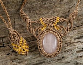Handmade Natural Gem Rose Quartz Macrame Necklace / Metal Free