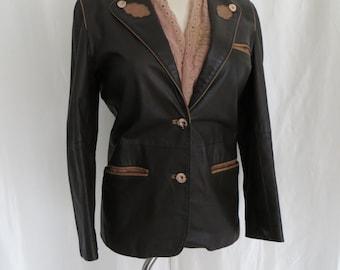 Vintage womens leather jacket, blazer, 80s brown leather size M L