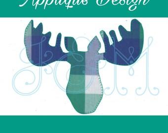 Moose Silhouette Blanket Stitch Vintage Style Applique Machine Embroidery Design
