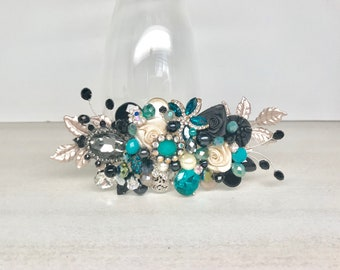 Black and Turquoise Hairpiece- Bridal Hair Comb- Bridal Hair Accessories- Black Bridal Comb- Wedding Hairpiece- Wedding Hair Accessories