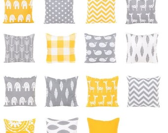 SALE ENDS SOON Gray and Yellow Pillows, Yellow Pillows, Sofa Pillows, Gray Nursery Pillows, Decorative Pillows, Yellow Pillow Covers, Yellow
