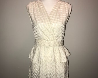 Vintage 70's Belted Peplum White Sleeveless Dress / by Joni Blair of California