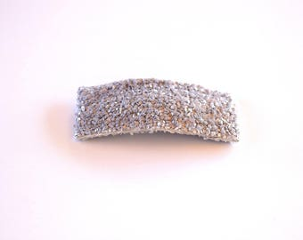 Grey Glitter SNAP Clip Bow for Baby Child Adult Holiday Spring Summer Adorable Photo Prop Darling Sparkly Clip