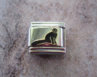 Italian style charm link, stainless steel and enamel, black, cat. - JD147