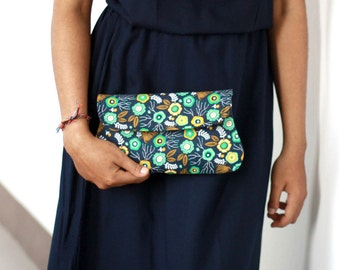 Navy floral bridesmaid clutch, bridesmaid gift, cotton clutch, navy  and gold clutch