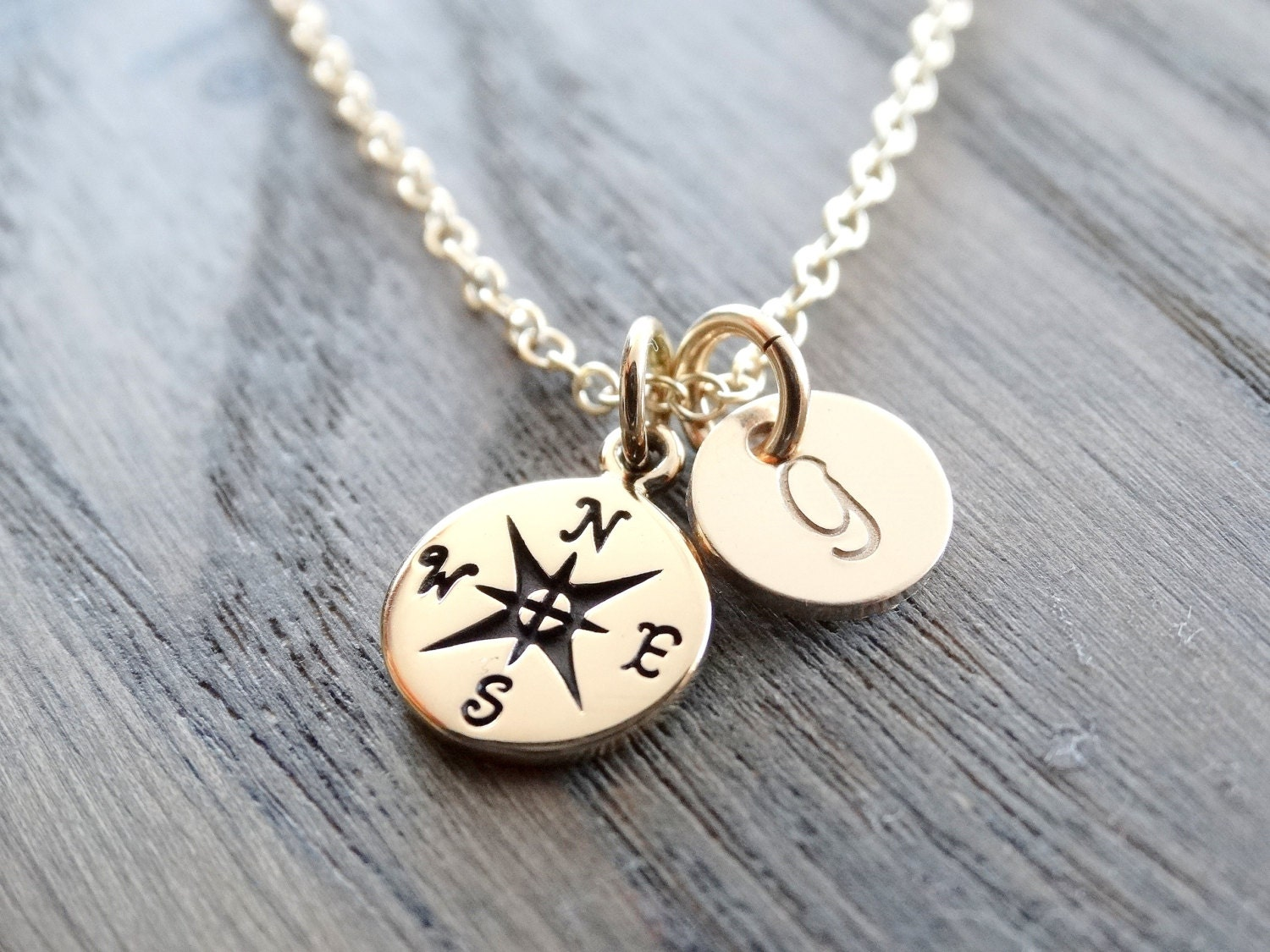 customized star plated necklace north jewelry gold dogeared petalbox compass pendant