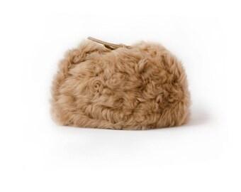 New Beige Lamb Trapper Hat, Real Tan Tuscan Lamb Unsheared Fur hat