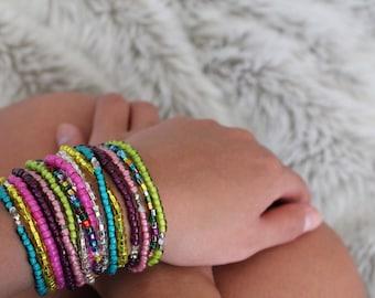 Beaded Bracelets - Stacking Bracelets - Festival Bracelets - SET of 5 - SALE