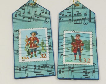 Christmas Boys Ornament, Blue House Shape Christmas USA Postage Stamp Art