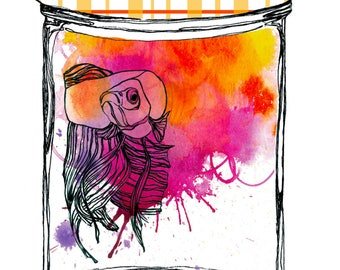 Watercolor Illustration rose and orange beta fish In a Glass Jam Jar, Instant Download, Print at Home, Home decor