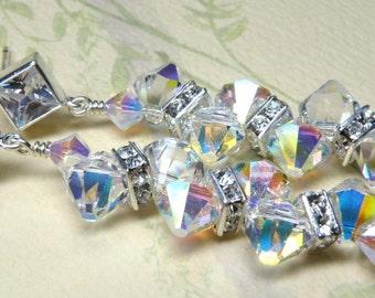 Clear Crystal Earrings, Swarovski, Rhinestone, Sterling Silver Diamante Posts, White, Opal, Wedding, Bridal, Handmade Jewelry