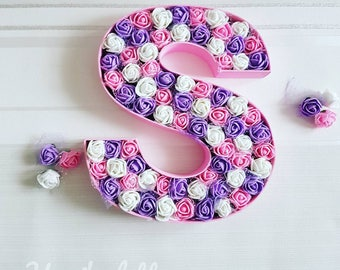 Custom floral letter, nursery decor, wedding decor, floral monogram letter,