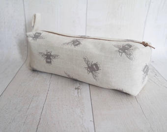 Bumble bee pencil case/ Makeup bag, made with cotton linen fabric and fully lined with water proof fabric