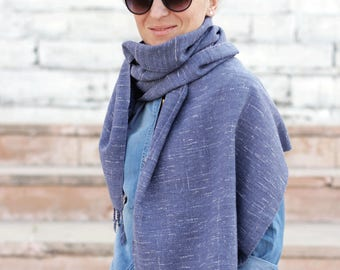 Blue white scarf, unisex scarf, scarf handmade, cotton scarf, knitted scarf, soft scarf, stylish scarf, long scarf, neck scarf, spring scarf
