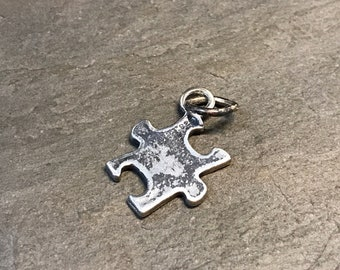 Vintage sterling silver handmade puzzle piece shaped charm, 925 silver pendant, stamped 925