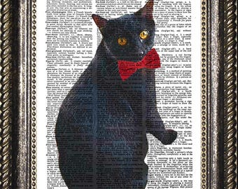 Cat with Red Bow Tie Art Print, Black Cat Dictionary Art, Funny Cat Art, Cool Black Cat Dictionary Print, Cat Wall Art, Gift for Cat Lover