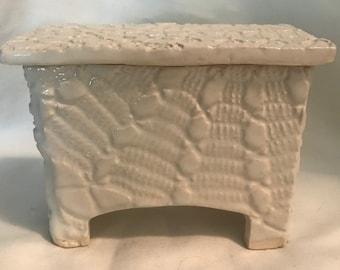 Skinny Box, Keepsake Box, Decorative small Box, Ceramic Box, White Box With Lid
