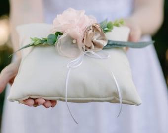Ring Bearer Pillow | Wedding Ring Pillow | Linen Ring Pillow | Shabby Chic | Rose Gold | Blush Flowers | Ring Cushion | Ring Prop | Ivory