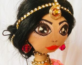 Indian sari Doll, Textile art doll, big eyes doll, long hair doll , decorative doll, collectible dolls, doll cotton, rag doll
