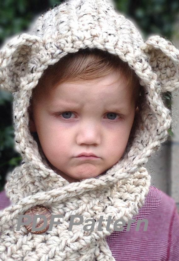 Crochet Pattern Brady Bear Scoodie Toddler Child and