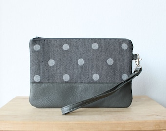 Dark grey Polka dot Clutch Purse Wristlet Vegan Faux leather Retro Wallet