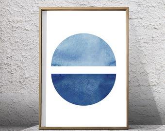 Abstract Watercolor Blue Wall art Minimalist Painting Circle Indigo Blue Navy Wall art Minimal Watercolor Geometric art Scandinavian Poster