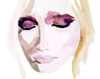 Girl with eyeshadow illustration - Fine Art Print