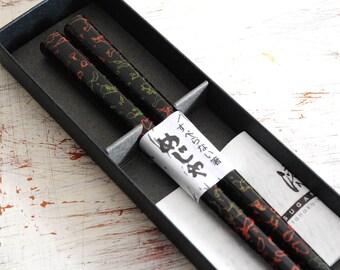 Beautiful Tsugarunuri Luxury lacquer wooden chopstick with Original Box Japanese traditional craft