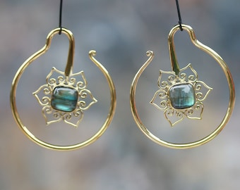 Labradorite and Brass Lotus ear weights or hanging styles code 2, hand made
