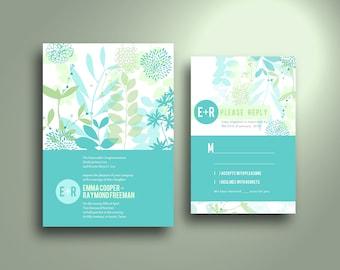 EMMA Aqua Floral Silhouette Flat Card Wedding Invitation