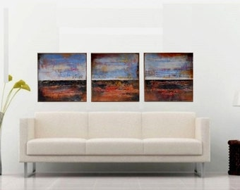 Abstract Large 150 PANORAMA Painting, HORIZONTAL Wall Decor, Original Landscape Art, Acrylic Canvas Wall art / Zhanna Ozolina