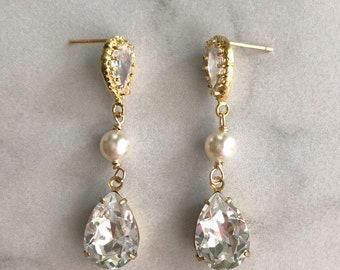 Bridal earrings - gold wedding earrings  - bridal jewelry - bridesmaids earrings - wedding jewelry - teardrop earrings - Charlotte