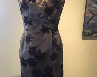 1950s 1960s Vintage Brown Floral Wiggle Dress
