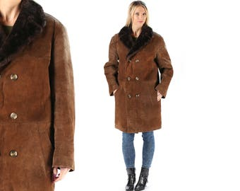 Sherpa coat Men's 80s SHEEPSKIN Winter Suede Leather Faux Shearling Bourbon Brown Real Fur Collar Overcoat 1980s Outerwear Long Jacket Large