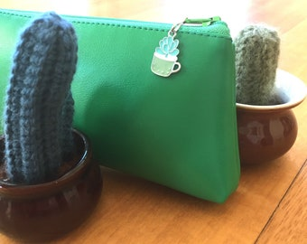 Cactus charm long vegan zipper pouch