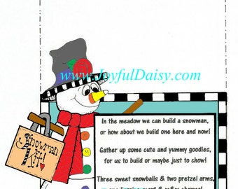 Snowman Snack Kit Label Digital Stamp - Makes adorable gifts & fun for kids too!