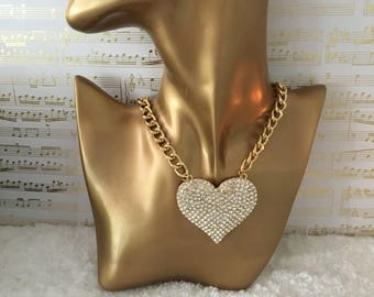 The Heart statement necklace,   bib necklace, gold bib necklace, Hip Hop Necklace, necklace, collar necklace chunky bib necklace