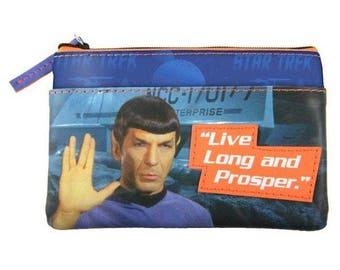 Star Trek Mr. Spock Live Long and Prosper Stylish Graphic Zipper Coin Purse
