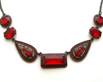 Victorian style, red necklace, red glass, vintage, evening jewellery