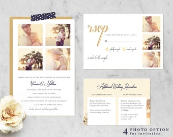 Printable Wedding Invitation Suite with Photo Options (Invitation, RSVP, Information Card) — Classic, Traditional, Simple