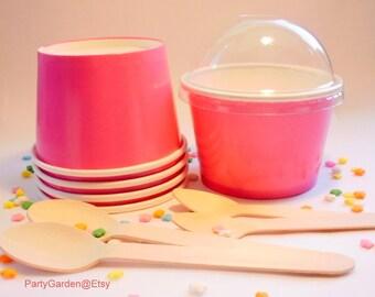 50 Hot Pink Ice Cream Cups - Medium 12 oz