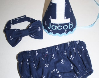 baby boy nautical first birthday outfit cake smash outfit for boy navy blue light blue white 1st birthday boys diaper cover bow tie hat