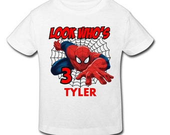 Spiderman Birthday Shirt with custom name and age- Personalized Birthday T- shirtBirthday-1st, 2nd, 3rd, 4th, 5th Birthday - Fast Shipping!