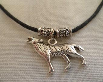 Wolf choker,wolf necklace, silver wolf, wolf jewelry,black choker,choker necklace,pagan jewelry, wiccan jewelry cord choker