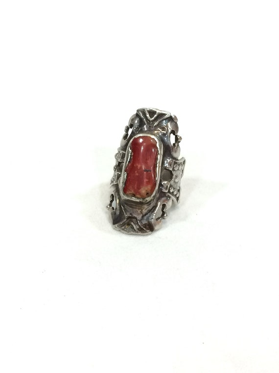 Taxco Sterling Silver Coral Statement Ring, Red Enamel Knuckle Ring, Beaded Silver, Rectangular Face, Mexico TF-32 Vintage Jewelry