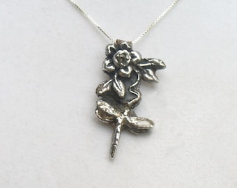 Dragonfly and Flower Fine Silver Pendant Necklace - OOAK set with Genuine Natural Sapphire