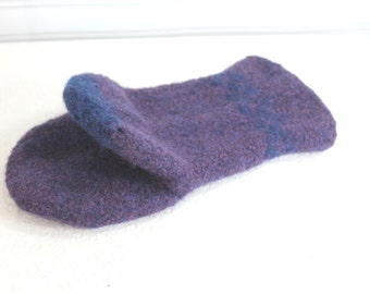 Heathered Blue Wool Oven Mitt, Universal Fit Oven Mitt, Purple Blue Wool Oven Glove, Wool Felt Oven Mitt, Wool Mitt, Hostess Chef Gift, Eco