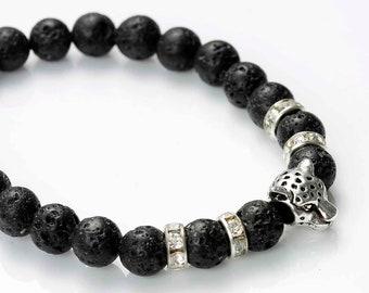 Lava stone and natural black Leopard antique - silver plated charm SC77906 bracelet
