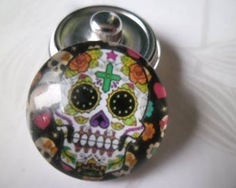x 1 snap skull jewelry round silver glass 20 mm