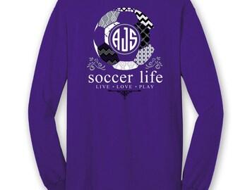 OFFICIAL TM SOCCER Life Custom Monogram Long Sleeve T-Shirt Soccer Shirt Soccer Tee c6Fkj2KJ